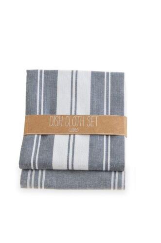 "Mud Pie Dish Towel Set of 2 Gray//Blue 20 x 28/"" 5484"