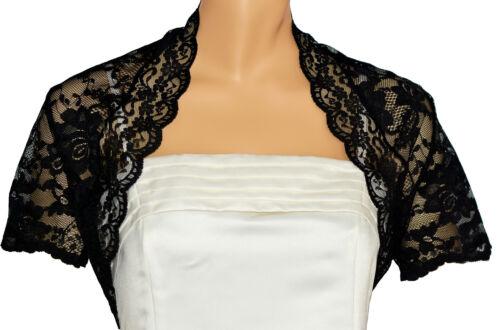 Ladies Black Lace Short Sleeve Bolero Shrug Sizes 6-30