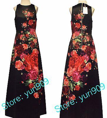 c97692fdb026e TED BAKER LONDON Black Marico Juxtapose Rose Maxi Dress Size 2 (US 6)  429