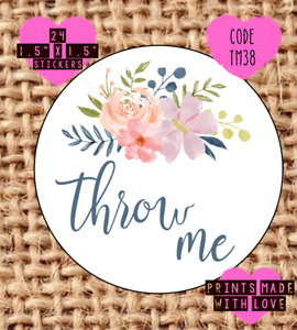 Throw me , wedding confetti stickers , labels , party , tm38,  floral flower