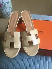 Hermes Oasis Oran Beige Calfskin Leather Sandals Sz 37.5 Retail $860 BNIB