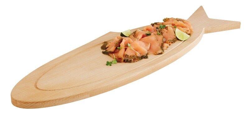 Buffet Brett, Servierbrett, Buffet Piastra, legno oleato, 76x23x2,5 cm, forma pesce
