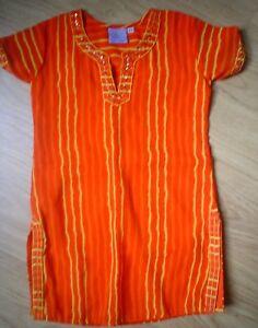 Biba Filles Par Punita Abhinav Orange Indien 3 Pièces Saree Set Top, Pantalon & écharpe-afficher Le Titre D'origine