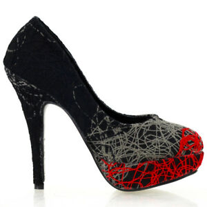 New Womens Trendy Abstract Lines Stiletto High Heel Platform Pumps AU Size 4-10