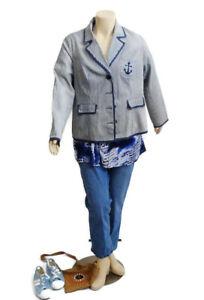 City Chic Blue & White Nautical Feel Jacket   Plus Size: XL NWT