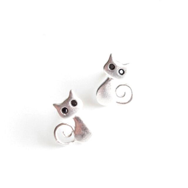 1 Pair Women Cute Cat Drawing Earrings Hypoallergenic Ear Studs Jewelry