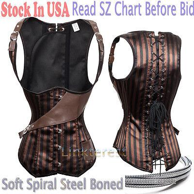 Brown Striped Gothic Steampunk Steel Boned Underbust Corset Waist Training US H2