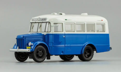 PAZ-651A bluee-white Soviet bus USSR 165102 DIP Models 1 43 New in a box, OVP