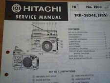 HITACHI TRK-5854E Radio tape recorder Service manual 1981 wiring parts diagram