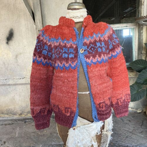 Vintage 1930s 1940s Red Wool Hand Knit Sweater Car