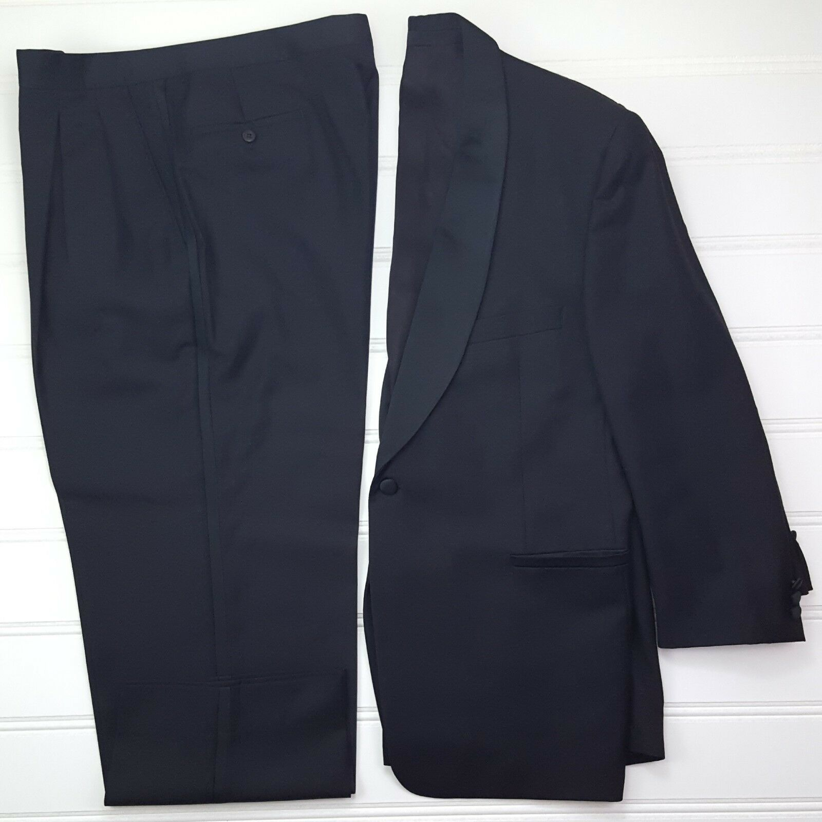 Jhane Barnes Tuxedo 42S Black Chevron Pattern No Vent 1 Button Mens Size Wedding