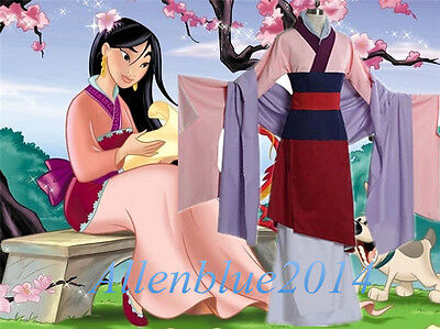 New Mulan Dress Full Set Halloween Party Cosplay Costume Outfit Custom Made size