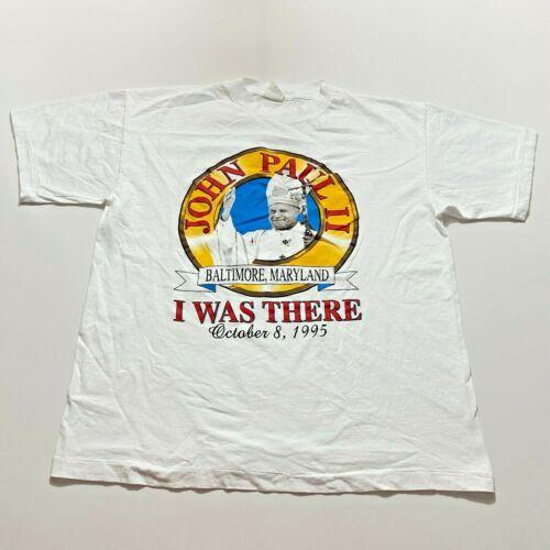 Vintage 90s Pope John Paul II T-Shirt Size L White