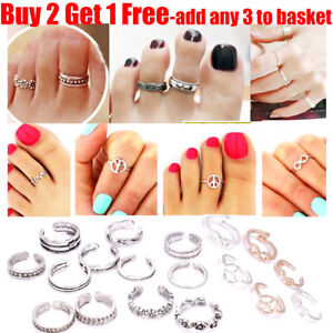 Women-Lady-15-Styles-Silver-Plated-Heart-Peace-Vintage-Toe-Rings-For-Women-Girl