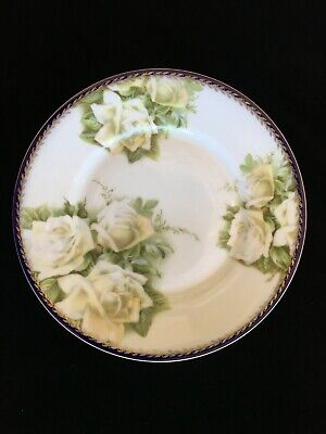 Antique Rosendahl Bavaria White Rose Hand Painted  Poorcelain Plate