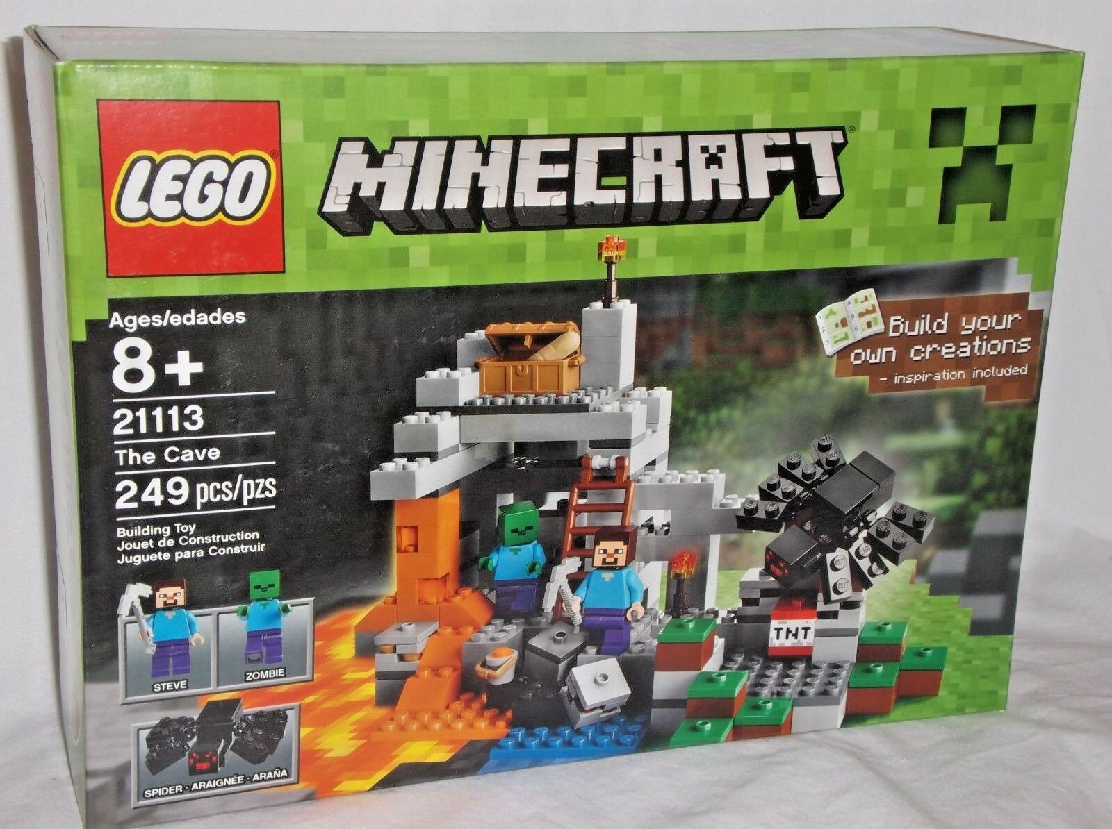 SEALED 21113 LEGO Minecraft CAVE Steve Zombie Spider Lava TNT 249 pc set 6092417