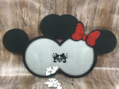 Minnie Mickey Disney inspired wedding guest book drop box 150 guests black /& rose gold