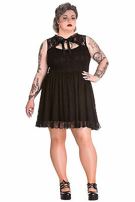 Spin Doctor Plus Size Black Gothic Lace Selena Rose Ruffle Mini Dress 2X 3X 4X