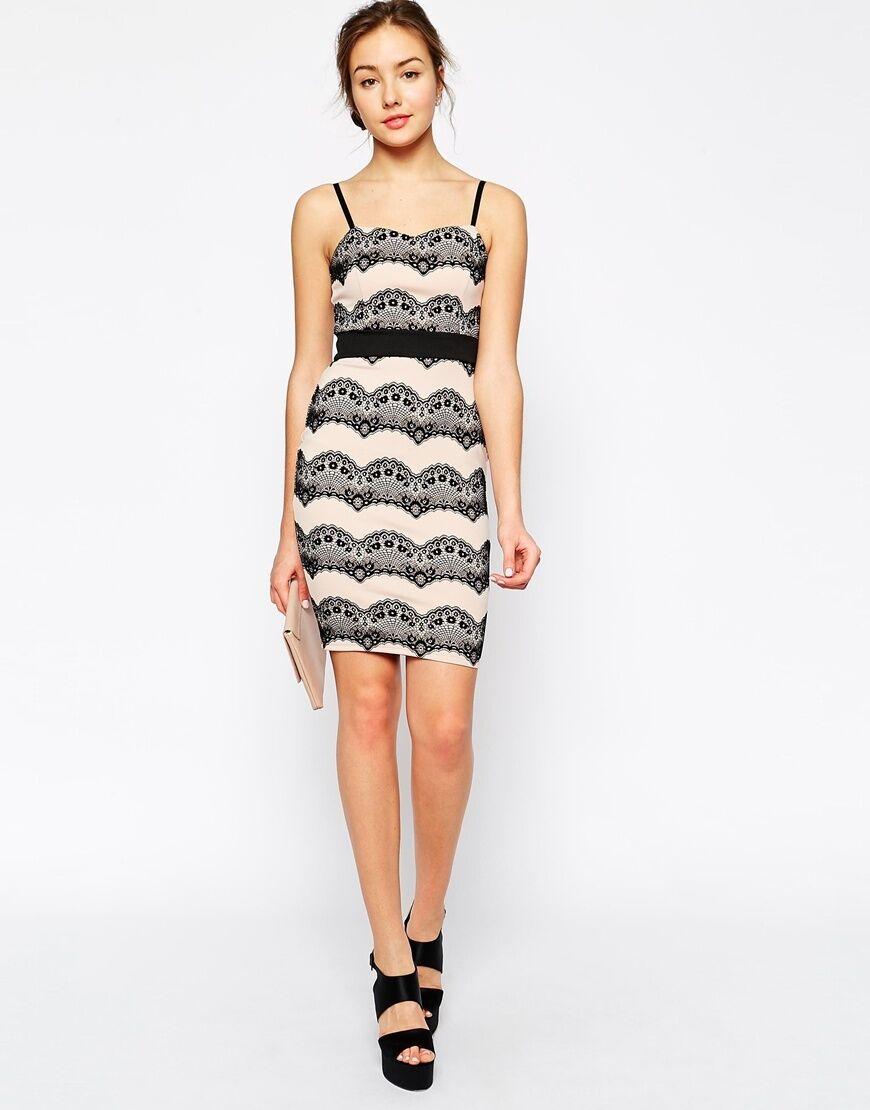 BNWT Jessica Wright Wright Wright Helena Lace Stripe Stretch Evening Occasion Dress Größe 12 66b722