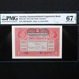 Austria-1917-ND-1919-2-Kronen-Pick-50-PMG-67-EPQ-Superb-Gem-Uncirculated