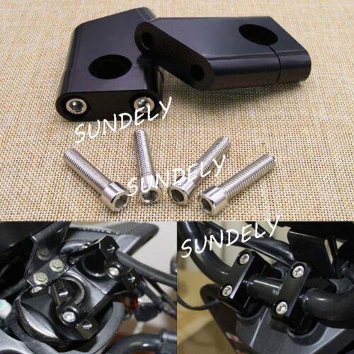 "2X Motorcycles Black 22mm CNC Aluminum 7//8/"" Handlebar Riser Clamp Mount"
