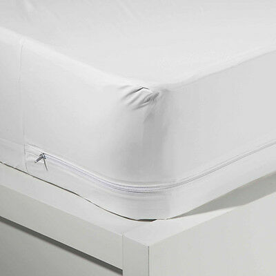 King Size Waterproof Zippered Vinyl Mattress Cover Allergy Bed Bug Protector