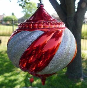 "Christmas Ball Yard Tree Ornament 7 1/2"" Shatterproof Plastic Large Red Glittery"