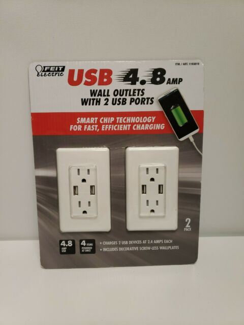 USB Ports 4.... Feit Electric 2-Pack Tamper Resistant Wall Outlet 120V with 2