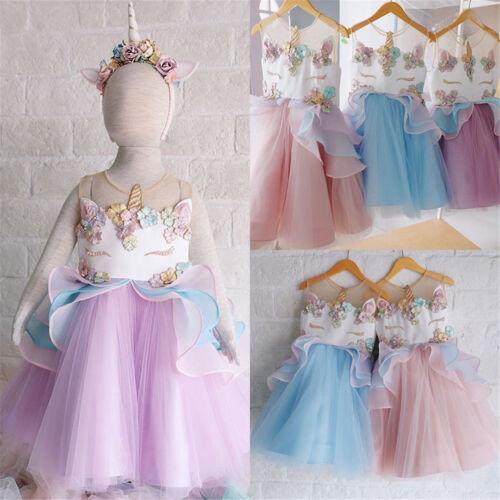 Mädchen Kinder Einhorn Cosplay Prinzessin Ballkleid Sommer Tutu Kleid Partykleid