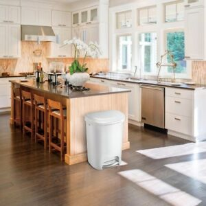 Details about Kitchen Trash Can 13 Gal. White Step On Waste Basket with  Liner Lock Garbage Bin