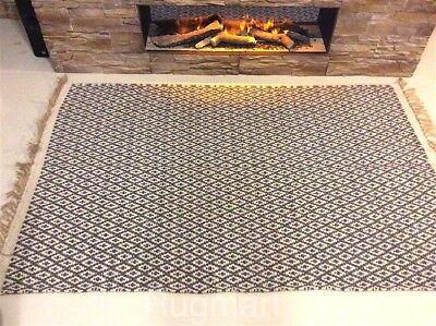 Dark GREY CREAM DIAMOND Geometric Recycled Cotton Washable Rug Runner 70x200cm