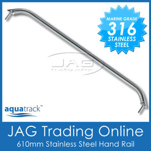 "1 x 316 STAINLESS STEEL 24"" (610mm) MARINE HAND/GRAB RAIL - Boat/Yacht Handrail"