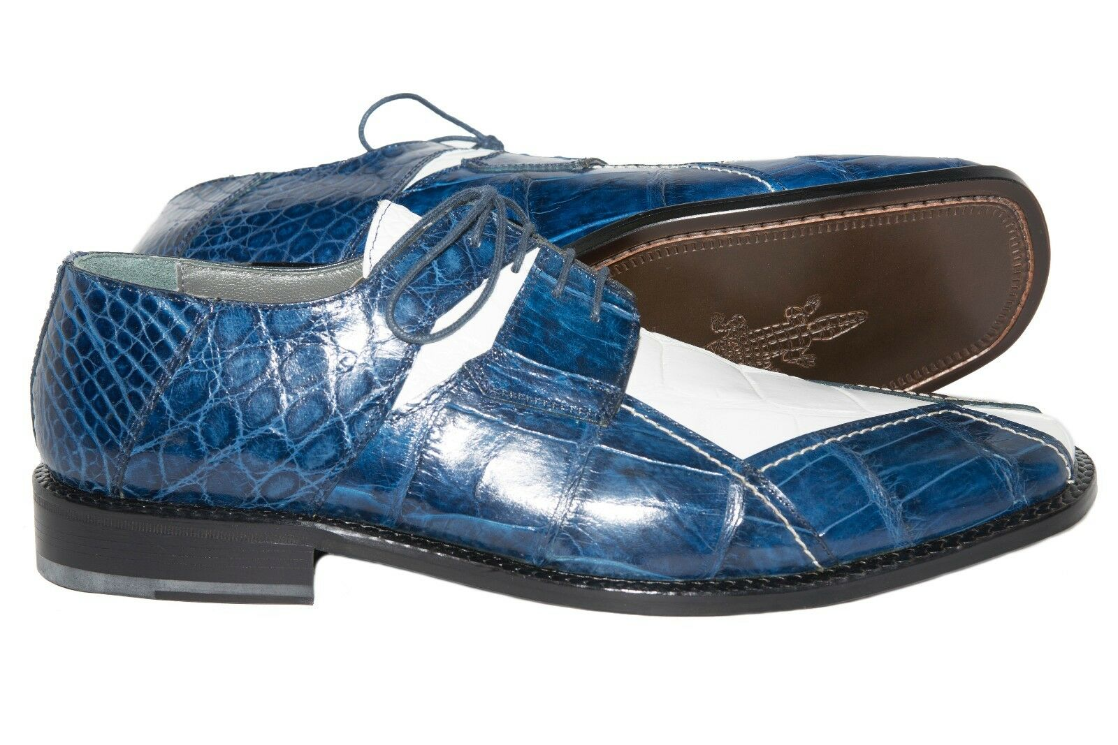 Slickexotica L-87 made in Espagne deux tons Genuine Alligator Lacets Chaussures
