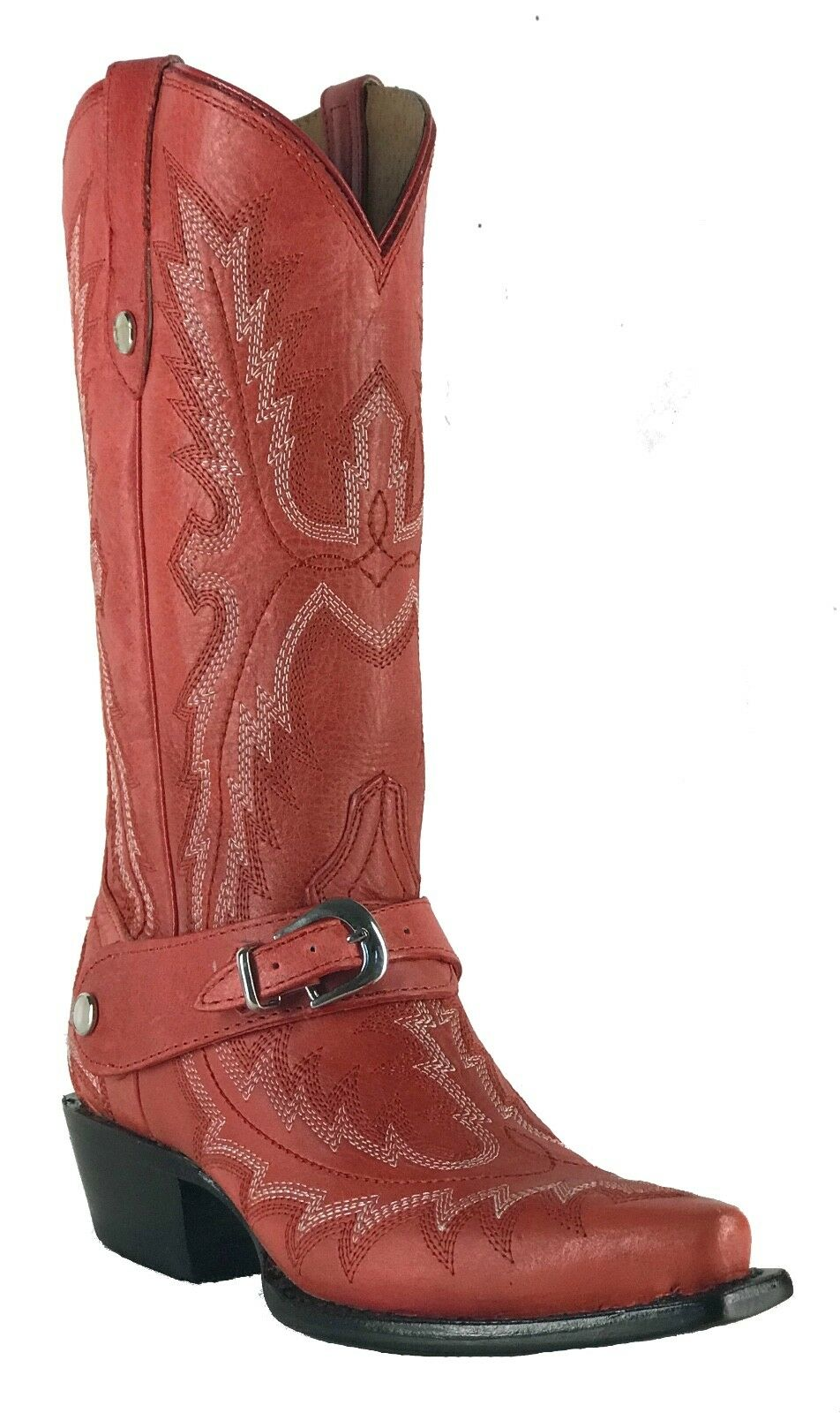 Women's New Leather Cowgirl Western Biker Boots Snip Red Sale
