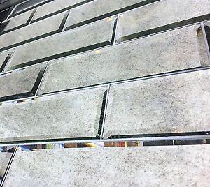 4x12 Wide Beveled Antique Subway Mirror Tile Backsplash Wall