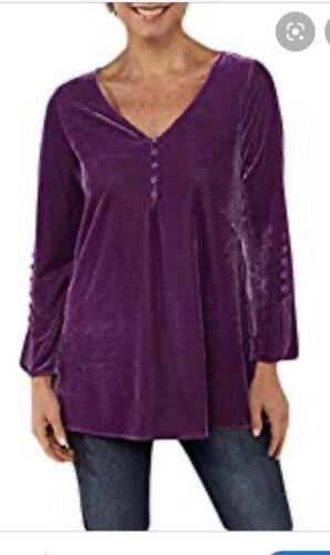 Large Purple Women/'s V Neck Long Sleeve Button Trim Velvet Tunic