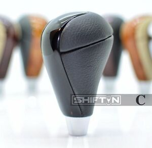 SHIFTIN Black Leather Piano Gray Wood Gear Shift Knob Shifter for Toyota Highlander Tacoma Black Leather//Gray Chrome