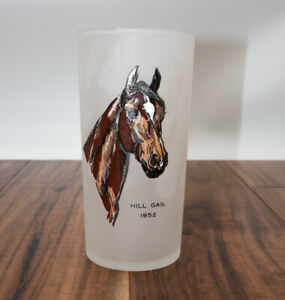 1952-Kentucky-Derby-Handpainted-Horse-Cup-Frosted-Mint-Julep-Glass