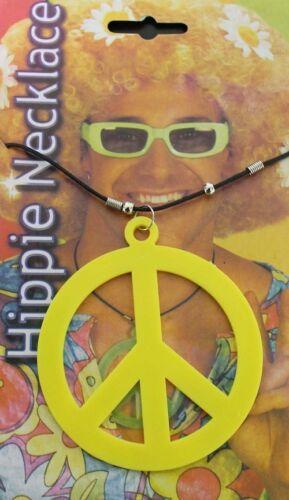NEW PLASTIC HIPPIE MEDALLION NECKLACE 60s 70s PEACE SIGN FANCY DRESS ACCESSORIES