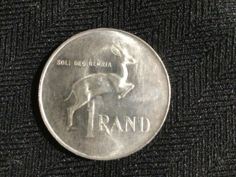 Silver South African R1 coin.