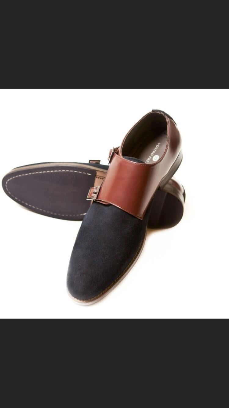 Navy Suede Double Monk Sizes Straps by Vostro Prezzo. All Sizes Monk available bd8f97