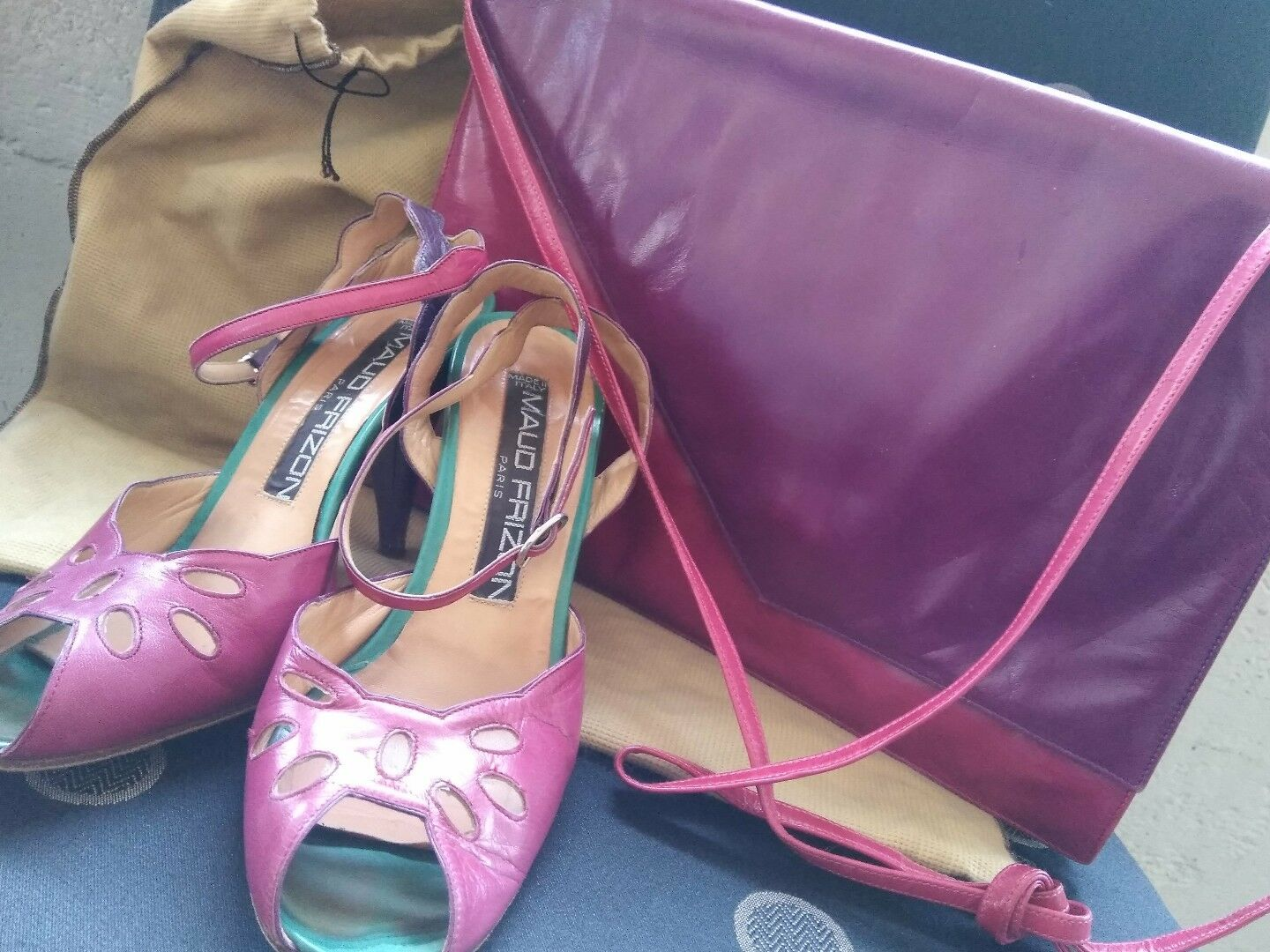 Maud frizon leather with high heel size 36 with leather bag de334b