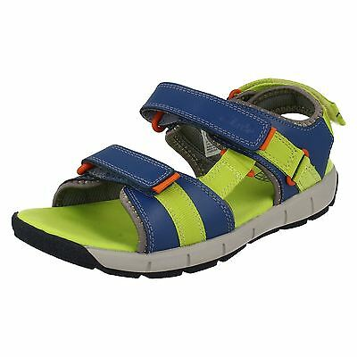 Boys Clarks Jolly Crazy Inf & Jnr Blue Combi Leather Riptape Strap Sandals