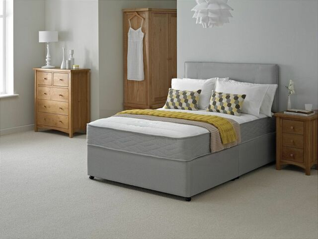 NEW GREY QUILTED MEMORY DIVAN BED SPRUNG MEMORY FOAM MATTRESS 3ft 4ft 4ft6 5ft