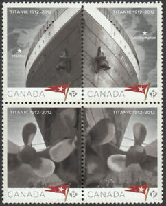 TITANIC-se-tenant-block-of-4-stamps-Canada-2012-2534a-MNH-VF