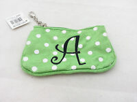 Mainstreet Collection - Small Green Fabric Money Pouch - Id Holder - Letter A