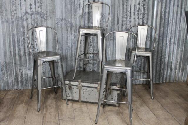 Gunmetal Vintage Tolix Style Bar Stools With Back Rest