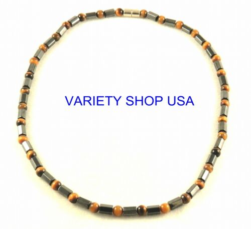 """Black beads and Tiger eye beads Magnetic Strand Hematite 20/"""" Necklace HN10TE"""