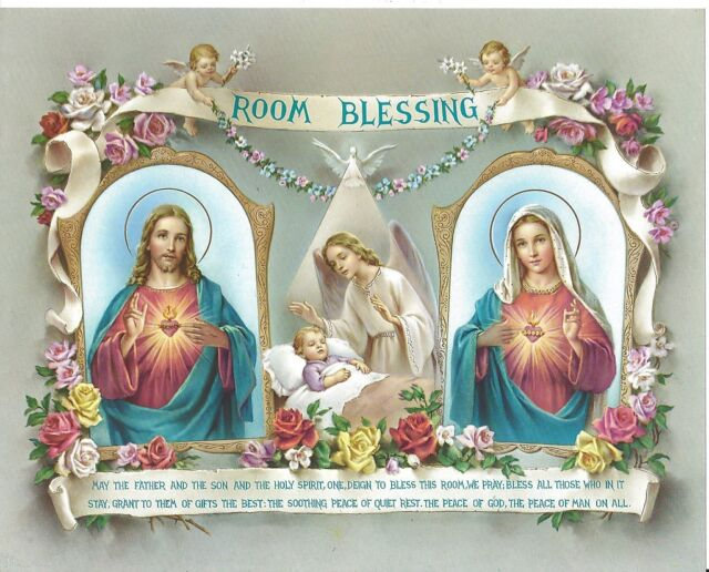 Catholic Print Picture CHILD ROOM BLESSING Sacred Heart Jesus & Mary Angels 8x10