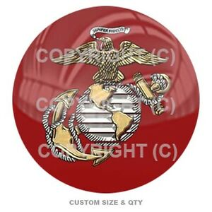 Premium Glossy Round 3D Epoxy Domed Decal Indoor /& Outdoor USA No 1 Eagle Red